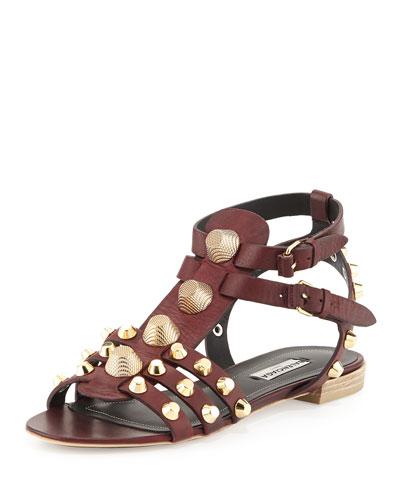 Balenciaga Studded Leather Buckle Sandal