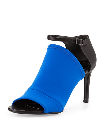 Balenciaga Neoprene Mid-Heel Glove Sandal, Royal
