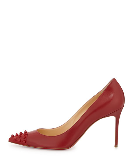 Spiked Cap-Toe Red Sole Pump, Red