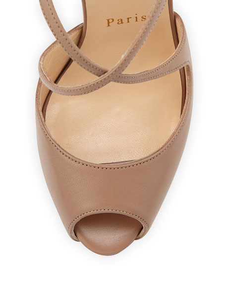 Leather Crisscross Red Sole Sandal, Taupe