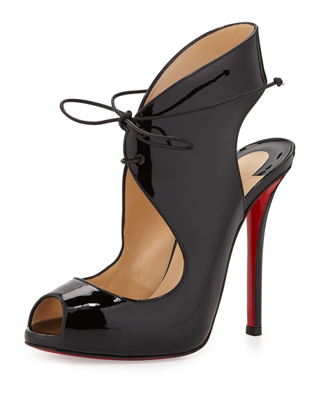 Allegra Patent Lace-Up Red Sole Sandal, Black