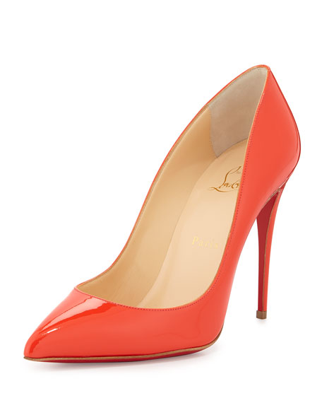 Patent Pointed-Toe Red Sole Pump, Orange