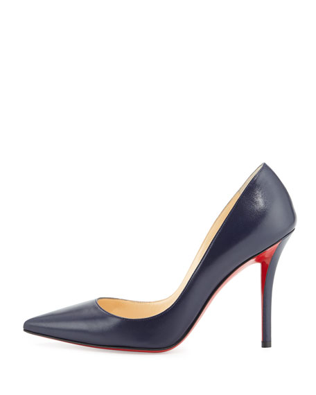 Apostrophy Pointed Red Sole Pump, Navy