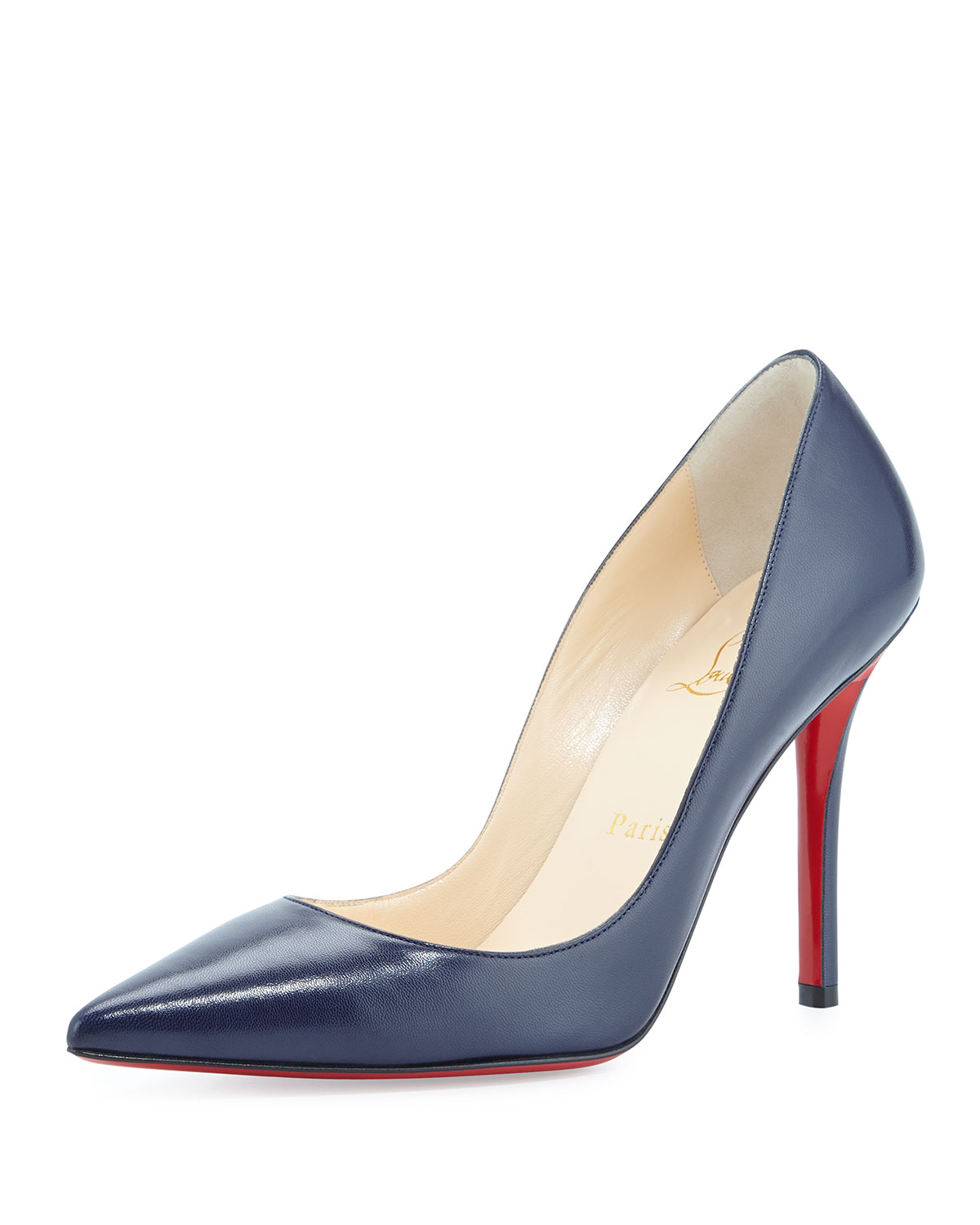 watch aa39c 28579 Apostrophy Pointed Red Sole Pump, Navy