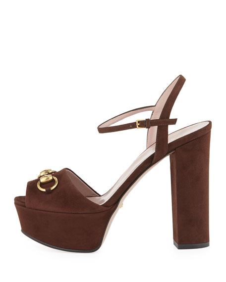 Suede Horsebit Platform Sandal