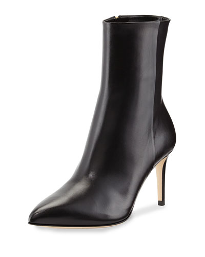 GUCCI Brooke Leather Ankle Boot, Black