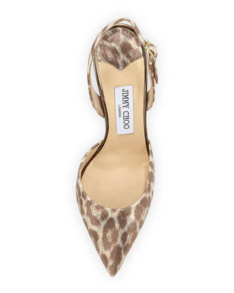 Tarida Leopard-Print Slingback Pump, Gold