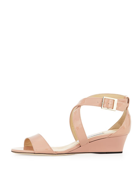 Chiara Demi-Wedge Crisscross Sandal, Blush