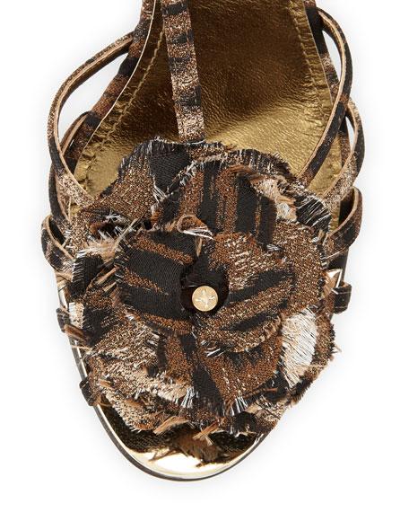 Leopard-Print T-Strap Flower Sandal