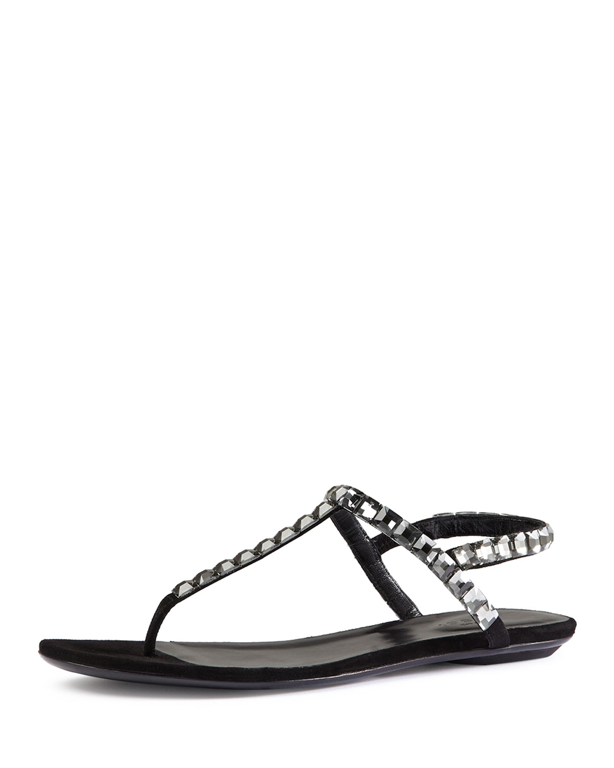 d28607c9859 Gucci Mallory Crystal-Embellished Suede Thong Sandal