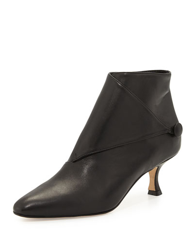 Manolo Blahnik Diaz Leather Low-Heel Bootie, Black