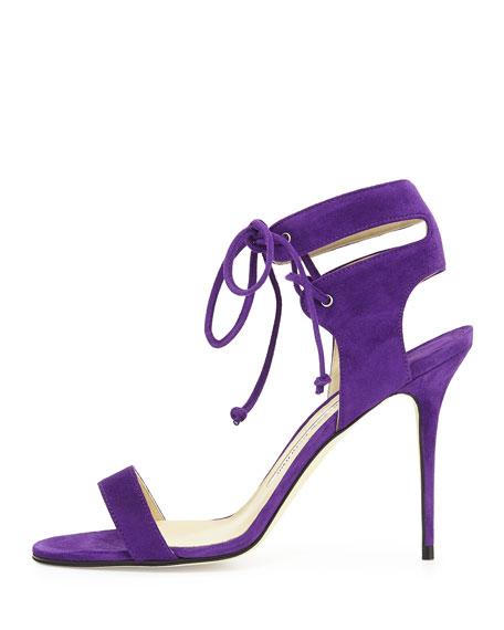 Laramod Suede Ankle-Wrap Sandal, Purple
