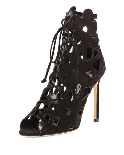 Kahikalo Caged Suede Bootie, Black