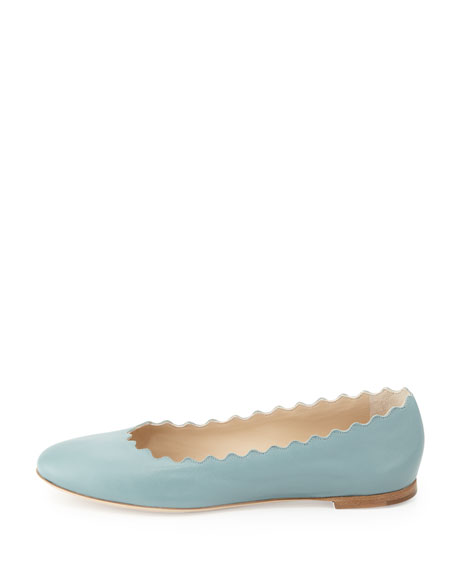 Scalloped Calfskin Ballerina Flat, Blue