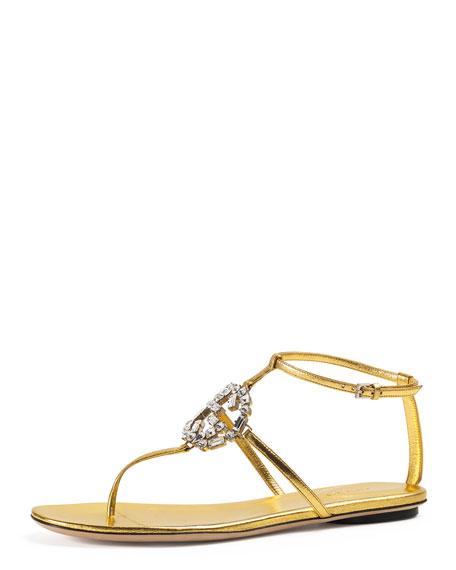83510a92e Gucci GG Sparkling Metallic Leather Sandal, Gold | Neiman Marcus