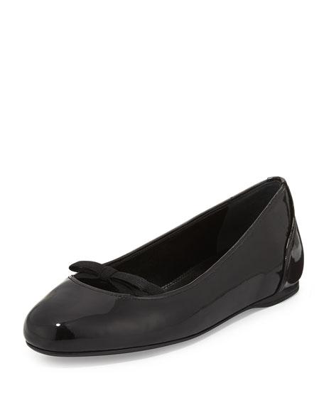 Prada Patent Bow Ballerina Flat, Nero