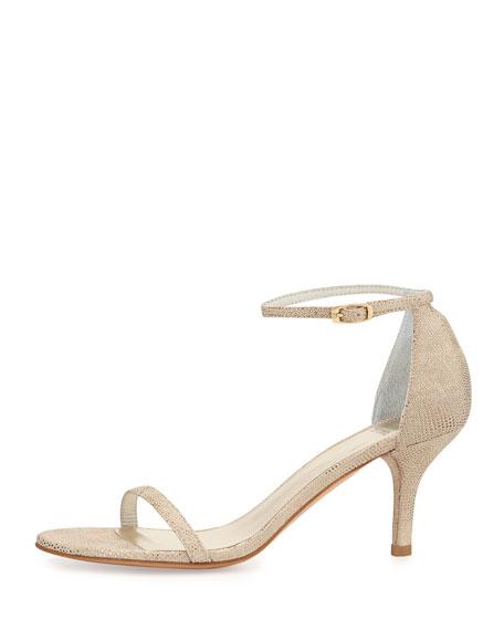 Naked Mid-Heel Ankle-Strap Sandal, Cava