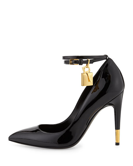 f47300efa23 Tom Ford Padlock Ankle-Wrap Leather Pump