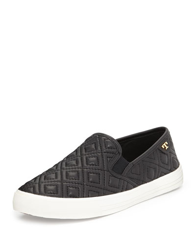 Tory Burch Jessie Quilted Slip-on Sneaker, Black