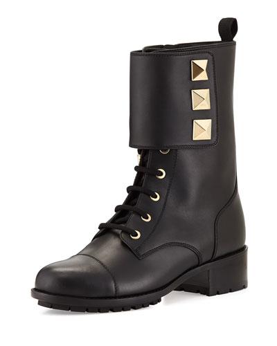 Valentino Rockstud Leather Combat Boot, Black