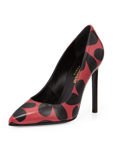 Saint Laurent Heart-Print Pointed-Toe Pump