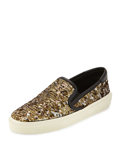 Paillette Slip-On Sneaker, Gold