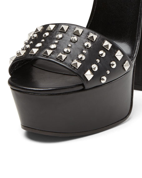 Gucci Leila Studded Platform Sandal, Nero