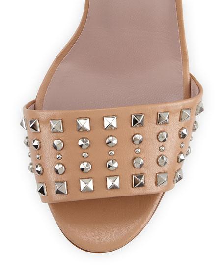 Coline Studded-Leather Ankle-Strap Sandal, Camilia