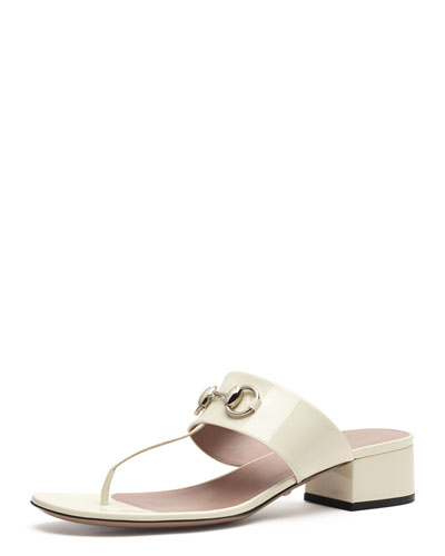 Liliane Patent Bit Thong Sandal, Off White