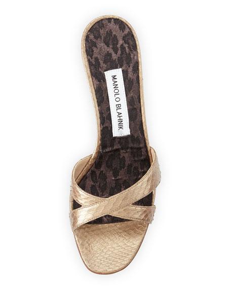 Manolo Blahnik Callamu Watersnake Slide Sandals, Bronze