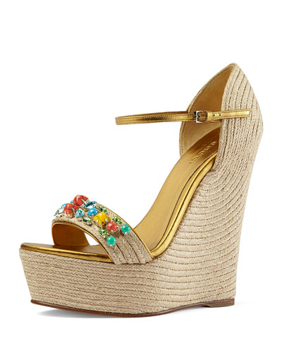 Carolina Metallic Leather Espadrille Wedge