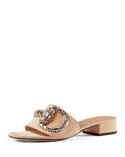Crystal-Horsebit Suede Sandal, Peach