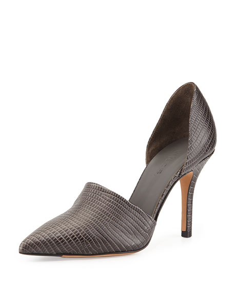 Claire Two-Piece Embossed Pump, Graphite