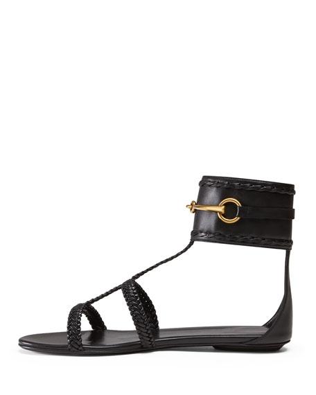Ursula Ankle-Strap Flat Sandal, Nero