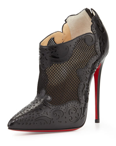 Christian Louboutin Mandolina Laser-Cut Mesh Red Sole Bootie, Black