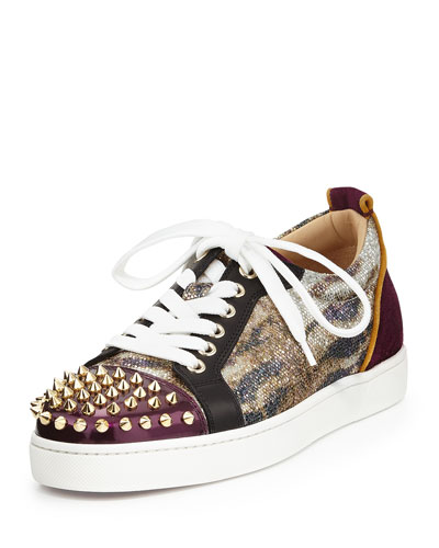 Christian Louboutin Spike-Toe Glitter Lace-Up Sneaker, Gold