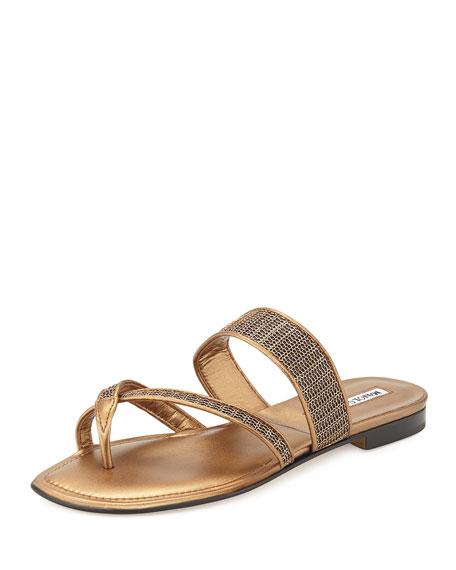 Susametal Woven Thong Sandal, Copper Bronze