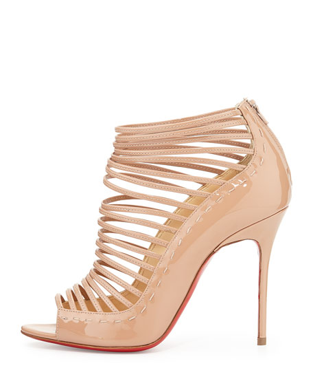 Gortika Patent Strappy Open-Toe Red Sole Bootie, Nude