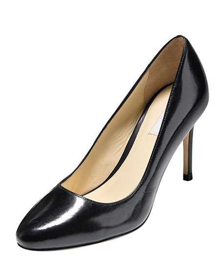 Bethany Almond-Toe Leather Pump, Black