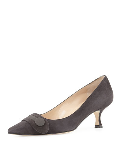 Manolo Blahnik Scani Suede Button Pump, Charcoal