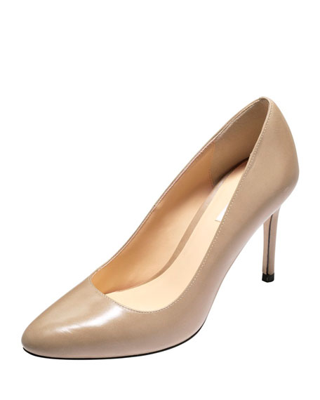 Cole Haan Bethany Almond-Toe Leather Pumps,Maple Sugar