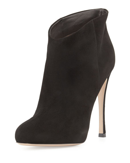 Slip-On Suede Ankle Boot, Black