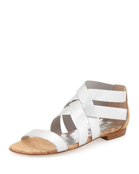 Manolo Blahnik Leoni Metallic Elastic Cork Sandal, Silver