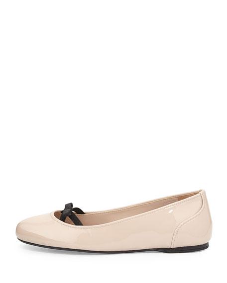 Patent Bow Ballerina Flat, Cipria