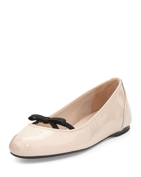 Prada Patent Bow Ballerina Flat, Cipria
