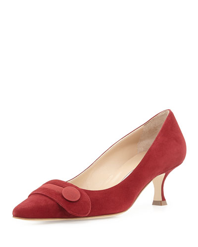 Manolo Blahnik Scani Suede Button Pump, Red
