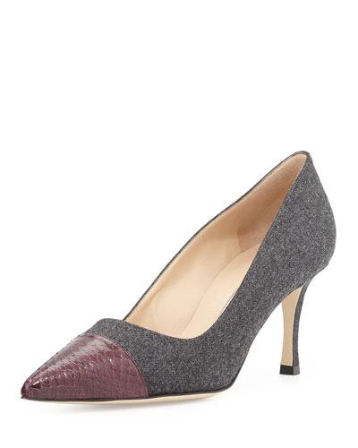 Manolo Blahnik BB Flannel Cap-Toe Pump, Gray/Bordeaux