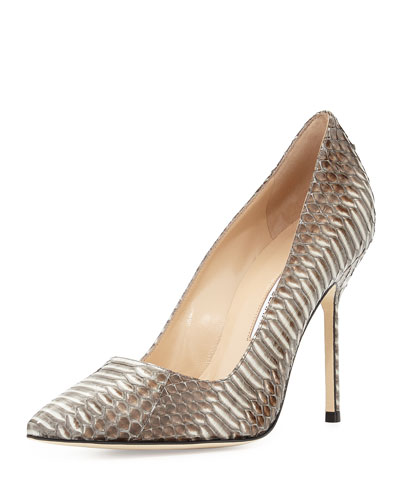 Manolo Blahnik BB Watersnake Pump, Gray/Black