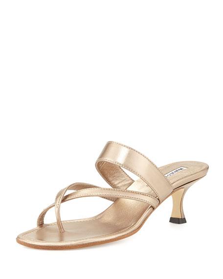 Manolo BlahnikSusa Low-Heel Thong Slide Sandal, Bronze