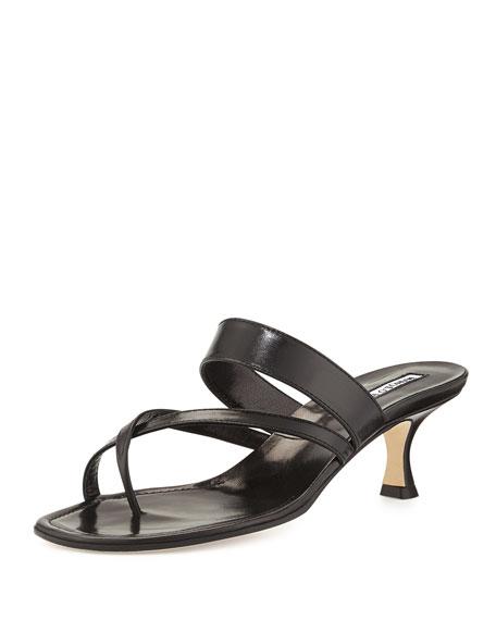 Manolo Blahnik Susa Low-Heel Thong Slide Sandal, Black